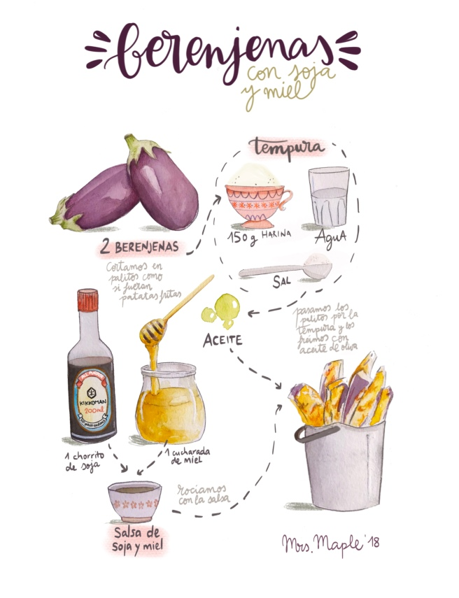 receta berenjena ilustrada acuarela